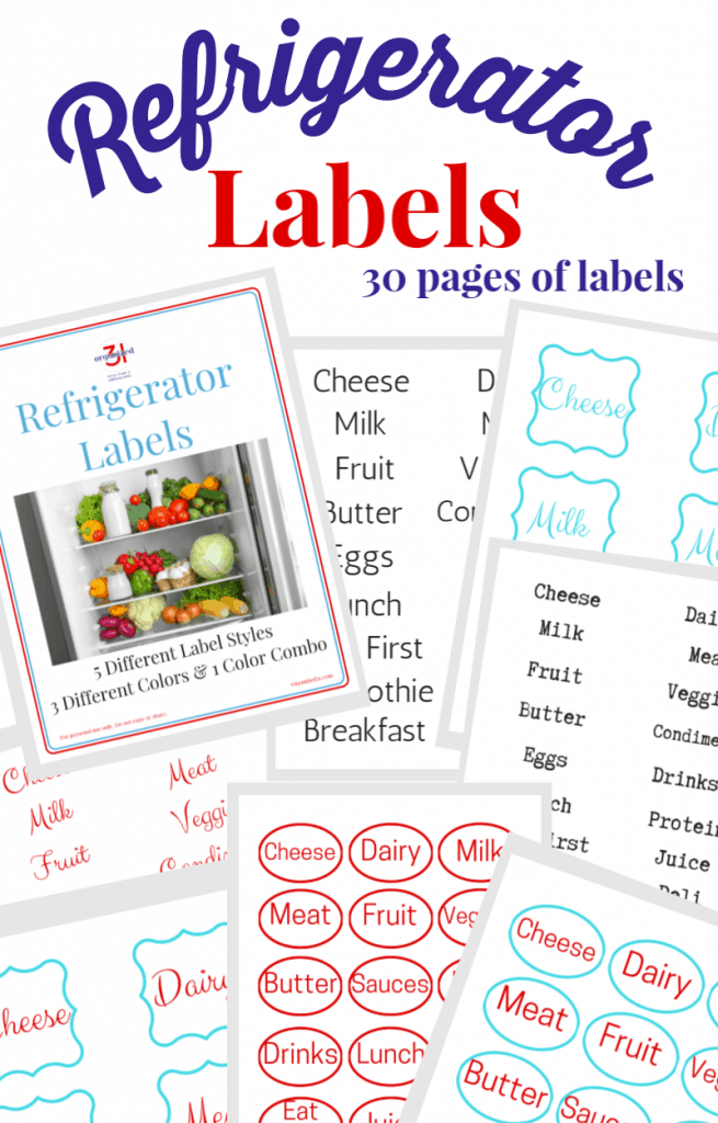 red and blue text overlay with 8 images of sheets of refrigerator labels