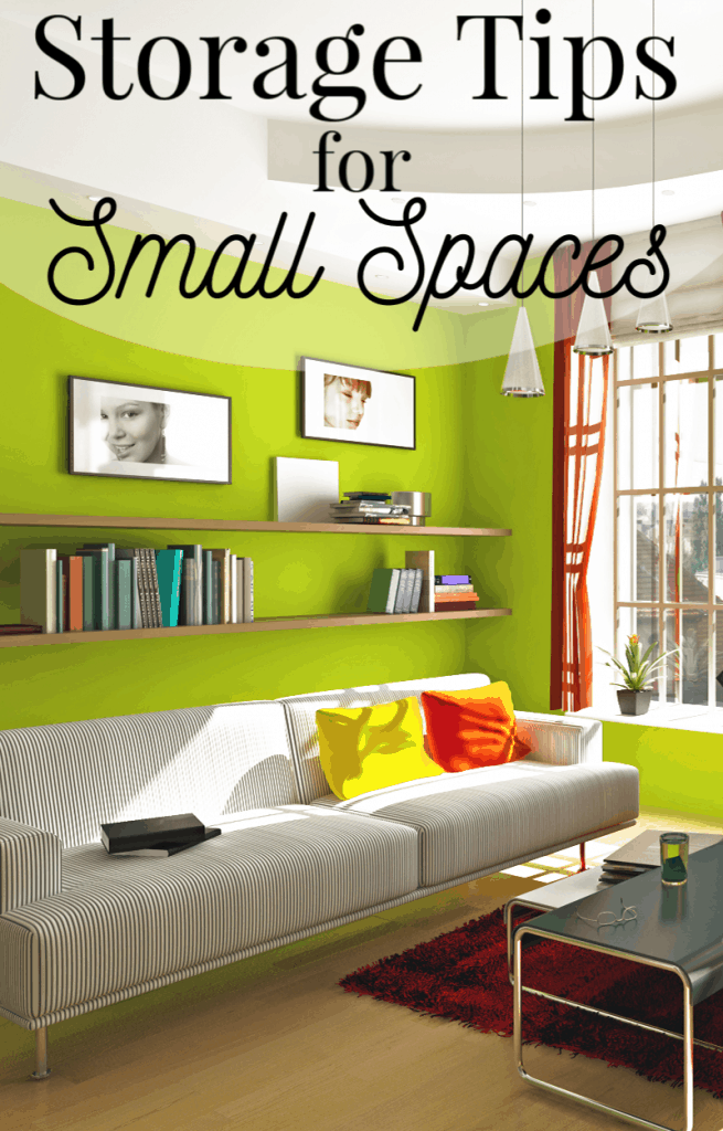 Bright, modern small apartment with text overlay