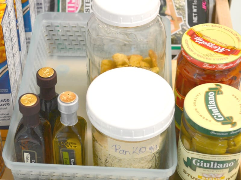 pantry items organized in basket