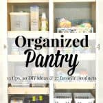 Close up of organized pantry with text overlay