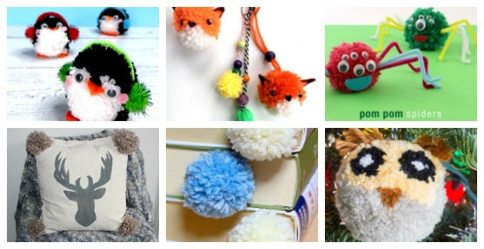 horizontal collage of 6 pom pom craft photos