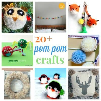 collage of 8 different pom pom crafts with text