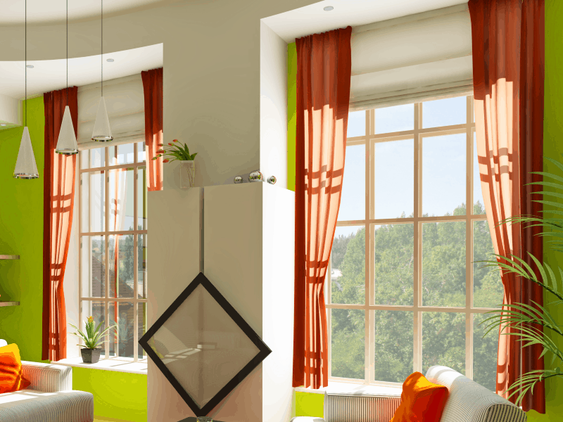 sunlight coming in 2 large windows in modern apartment