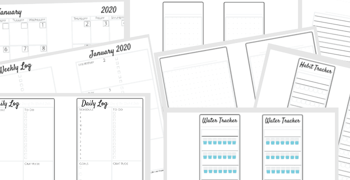 horizontal collage of 8 bullet journal pdf pages for 2020 planner