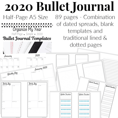 Collage of 8 images of 2020 Bullet Journal Planner pages half-page sized