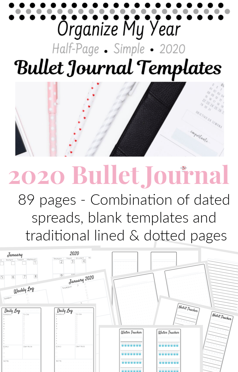 collage with pink text overlay of 8 bullet journal planner page templates half-page sized A%