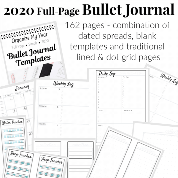 Collage of full-page 2020 bullet journal planner
