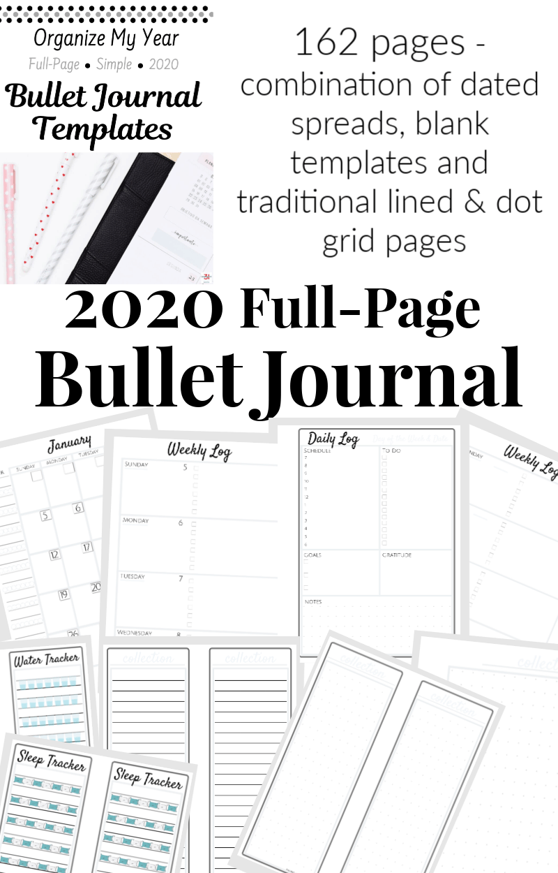 black text overlay of images of full page sized planner pages of bullet journal for 2020