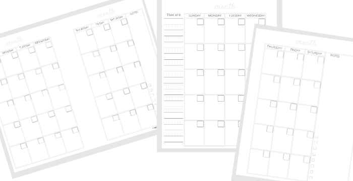 Collage of 3 black, white and grey bullet journal monthly spread printable templates.