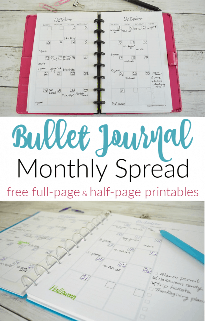 top image of smaller pink planner open to monthly spread, bottom image of full-page bullet journal with monthly spread printable