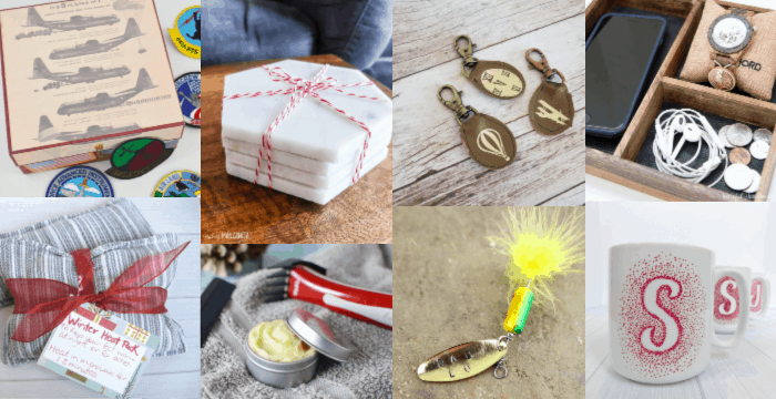 collage of 8 images of handmade gifts for men