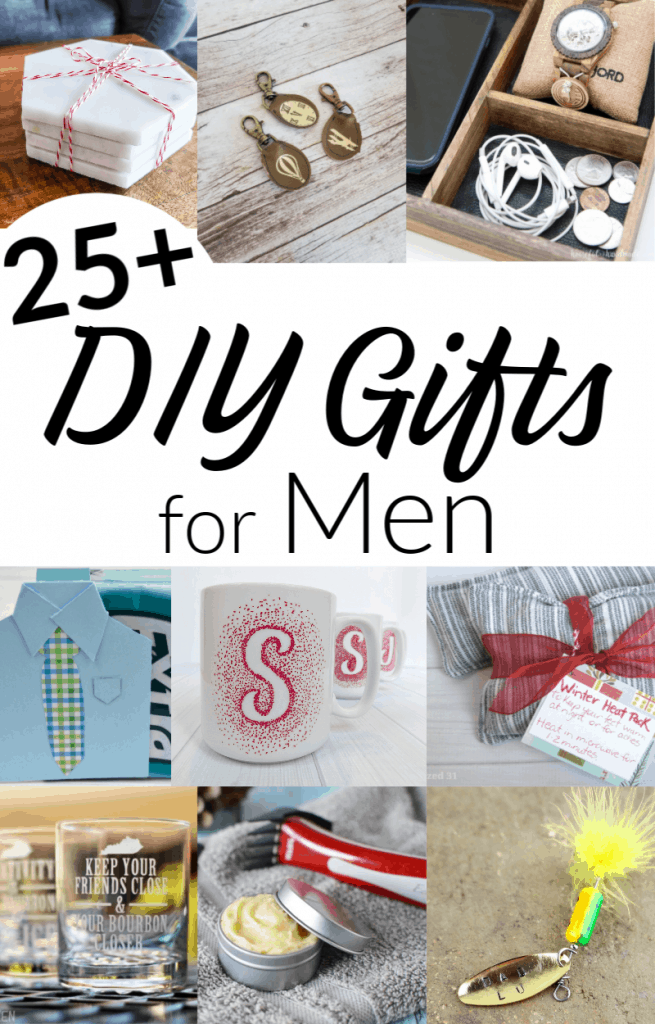 collage of 9 DIY men's gift images with text overlay in black