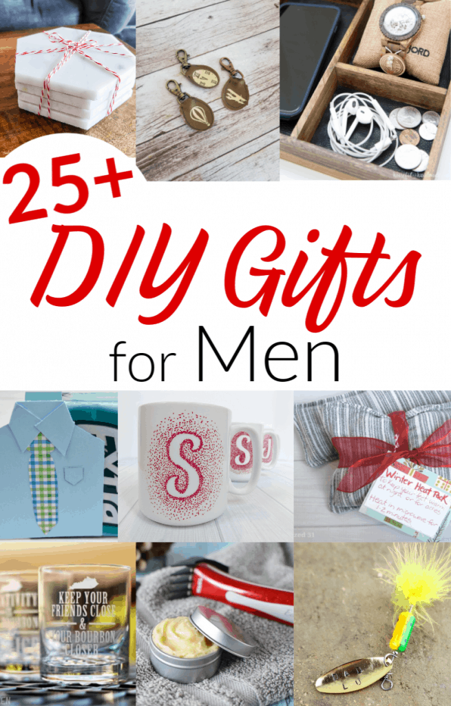 9 different images of DIY gifts for men with text overlay in black and red