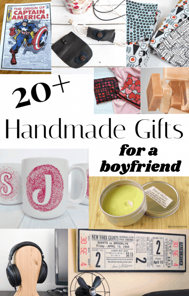 collage of 9 diy gifts for a boyfriend plus text overlay