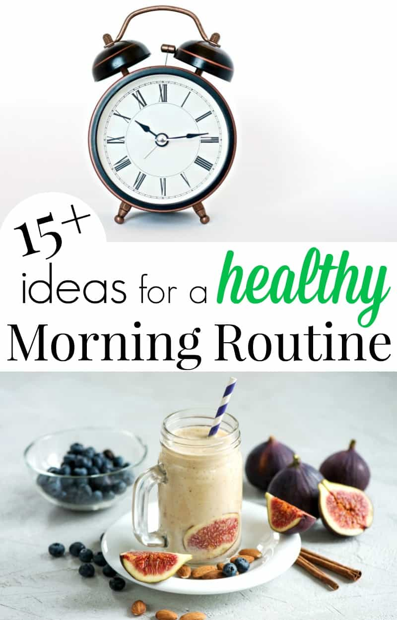 Top image of old-fashioned alarm clock, bottom image of healthy morning smoothie with fruit scattered and text overlay