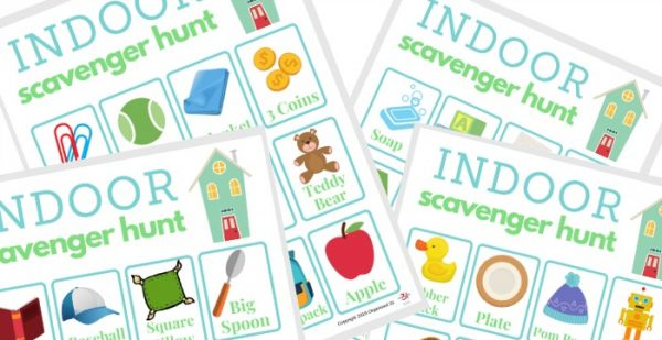 four blue and green indoor scavenger hunt game sheets