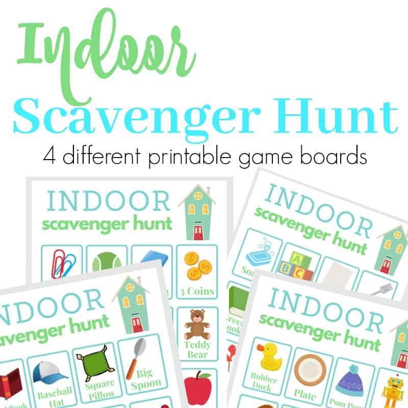 collage of indoor scavenger hunt game boards
