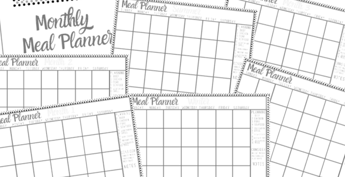horizontal view of 7 pages of the monthly meal planner printable set in black and grey