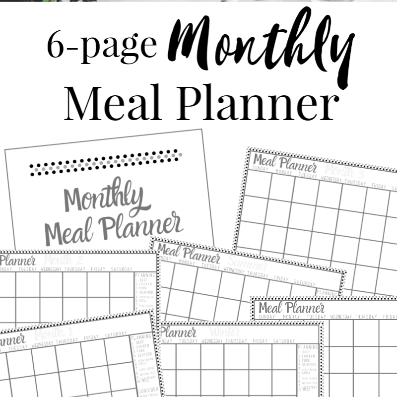 6 images of monthly meal planning templates with text overlay