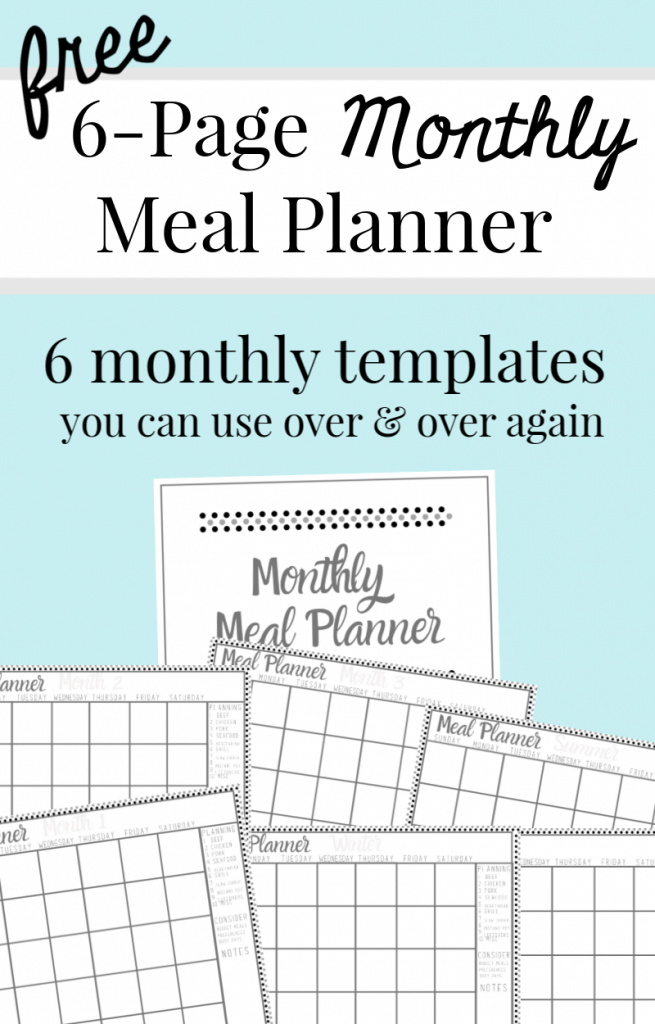 blue background with 7 images of monthly meal planners with text overlay