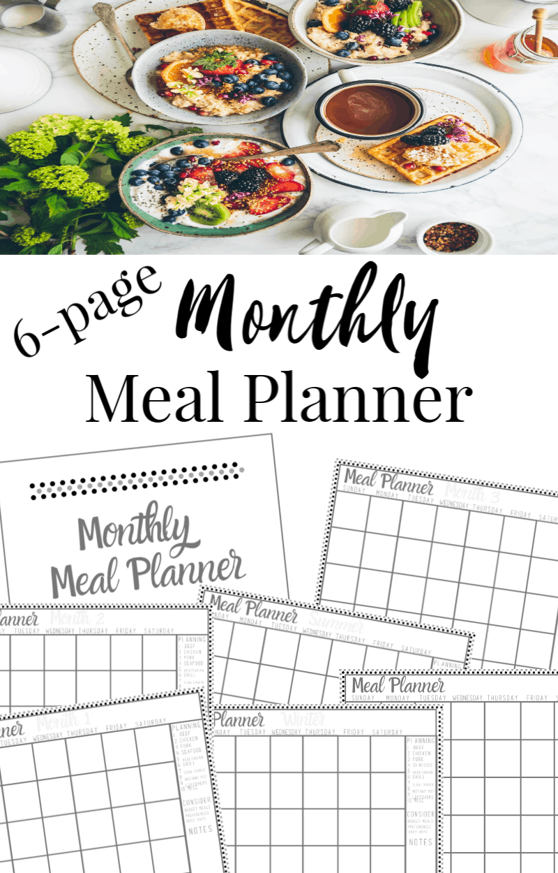 top image -white table with many bowls and plates of food, bottom image - collage of 7 monthly meal planner pages