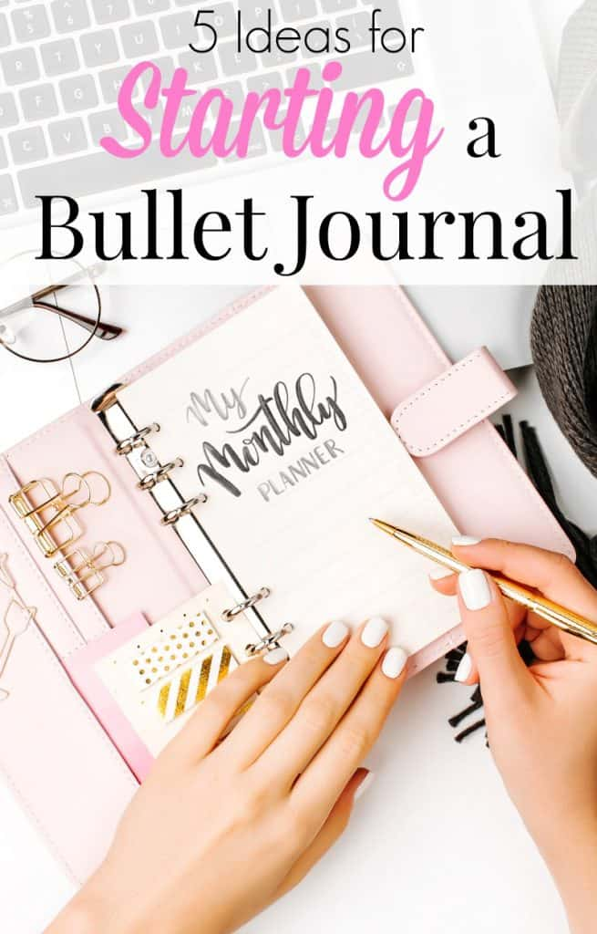 Pink bullet journal with woman writing on monthly spread and text overlay