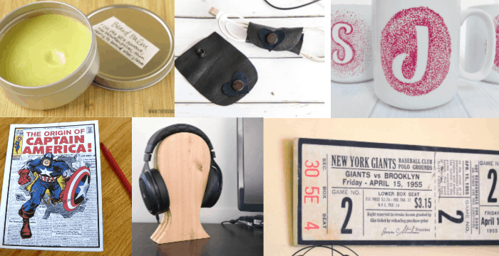 6 images of different handmade gift ideas for a boyfriend