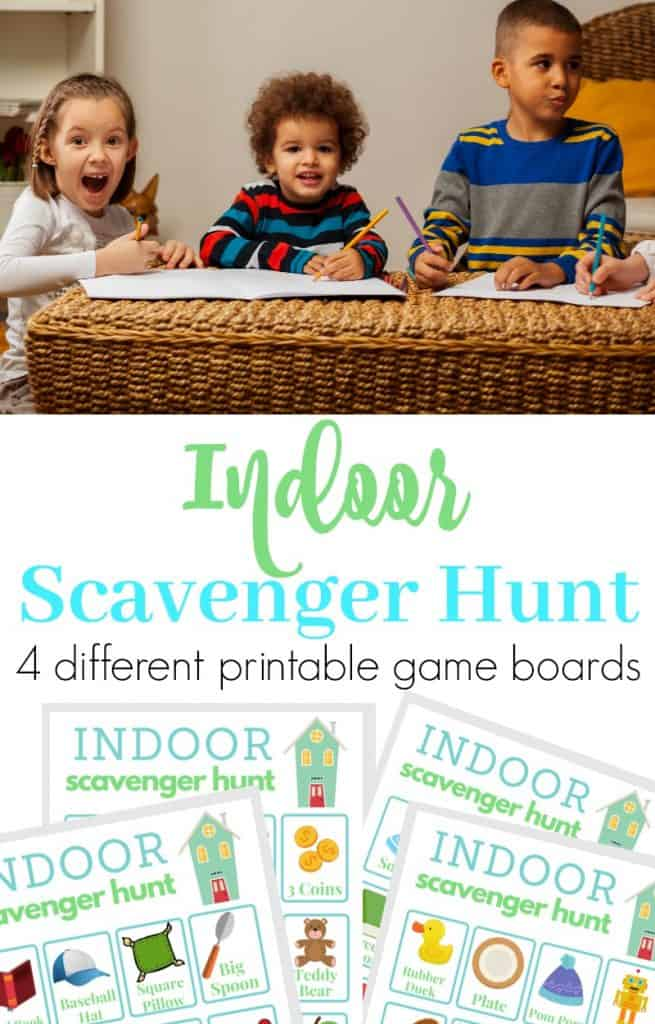 top image of 3 children with paper and pencils, lower image of 4 indoor scavenger hunt boards with title text reading Indoor Scavenger Hunt