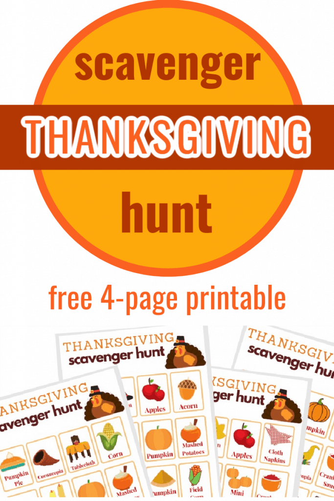 4 colorful Thanksgiving scavenger hunt games and text overlay