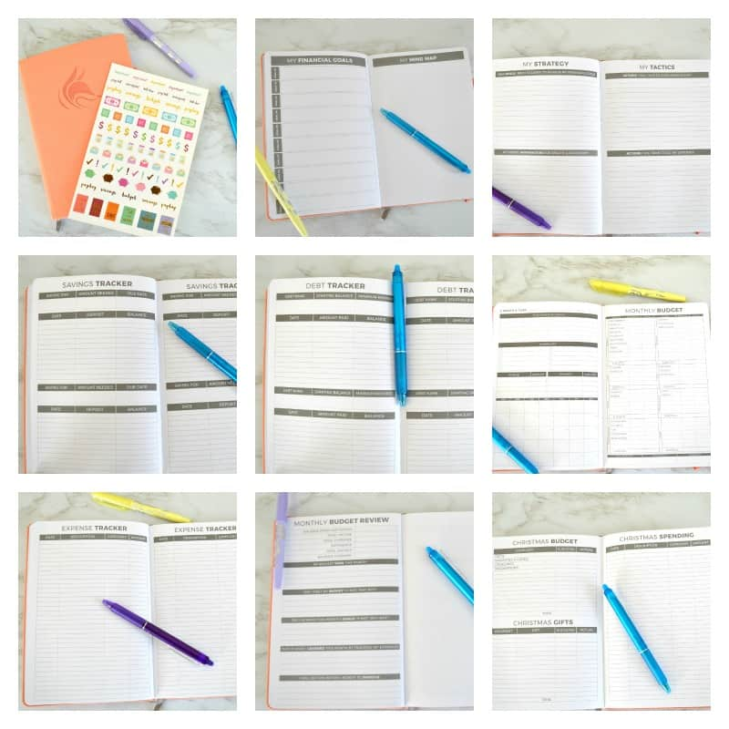 Collage of 9 budget planner pages images with blue and purple pens