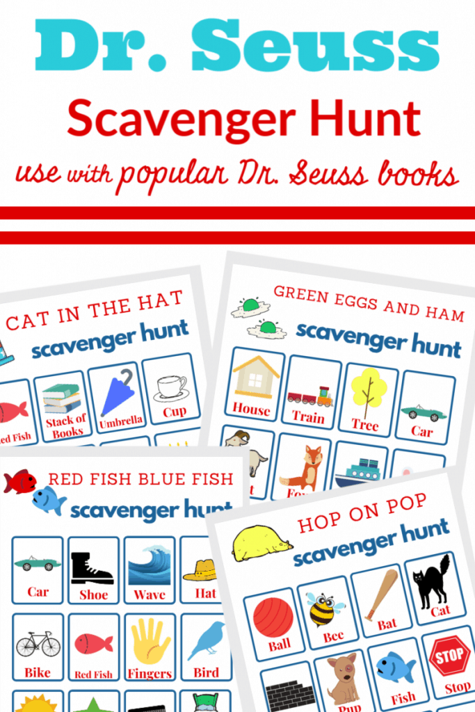 Blue and red text with images of 4 different Dr. Seuss scavenger hunt sheets