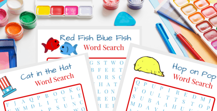 Close up of 3 printable Dr. Seuss word search sheets with colorful craft supplies scattered around on the table