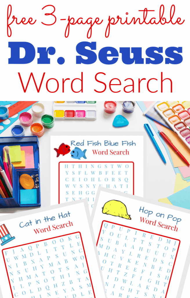 red and blue text, white table with brightly-colored supplies and 3 Dr. Seuss word search pages