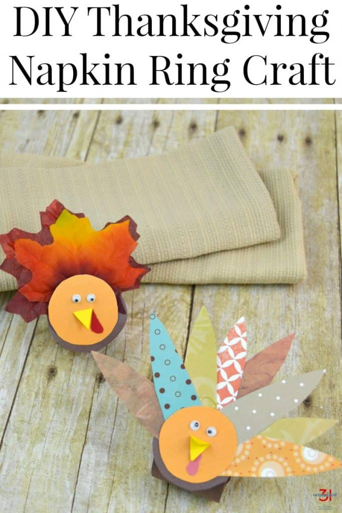 overhead view of 2 turkey craft napkin rings with text overlay #Thanksgiving #turkey