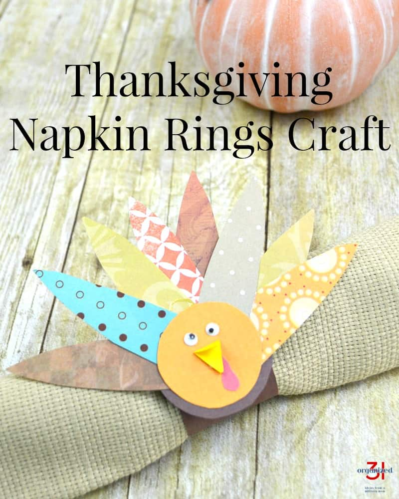 Colorful DIY turkey craft napkin ring on tan napkin with text overlay