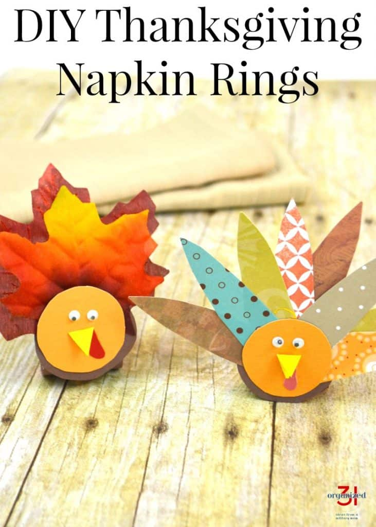 Close up of two Thanksgiving turkey craft napkin rings