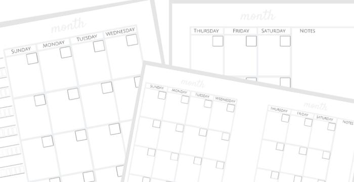 printable bullet journal calendar templates
