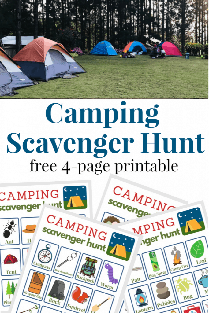 top image collection of brightly colored tents, bottom image 4 camping scavenger hunt game sheets