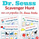 images of 4 Dr. Seuss scavenger hunt game cards with text overlay
