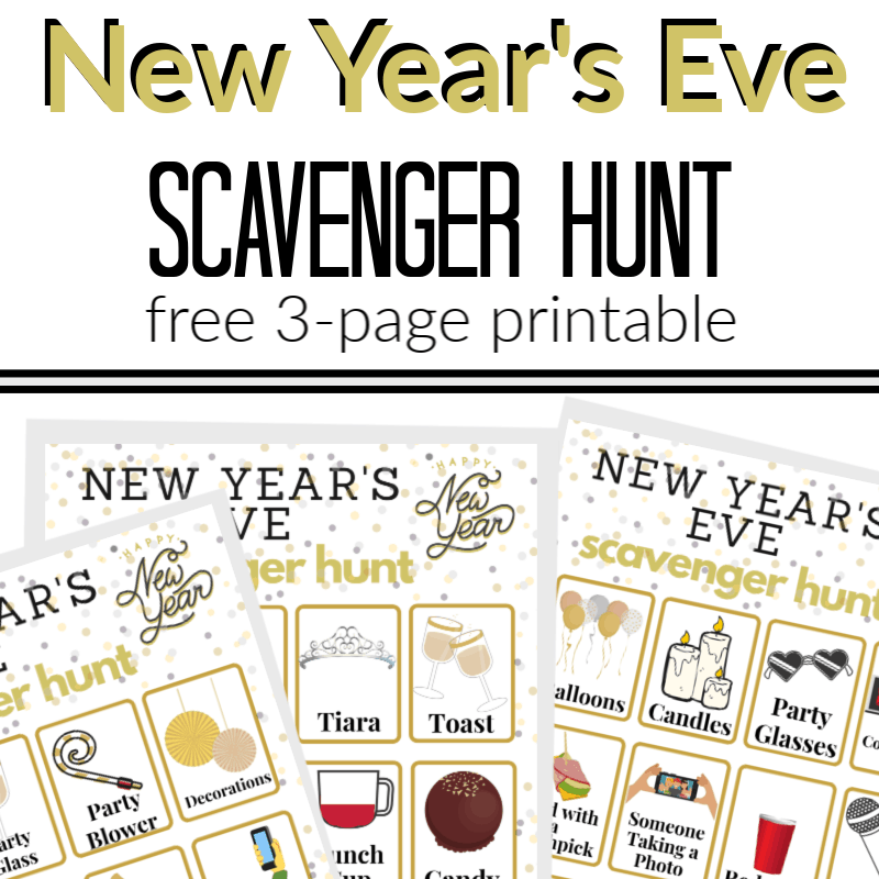 Top black and gold text, bottom 3 scavenger hunt sheets for New Year's Eve
