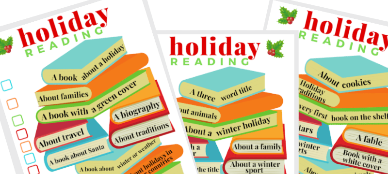 3 images of reading challenge for the holidays worksheets