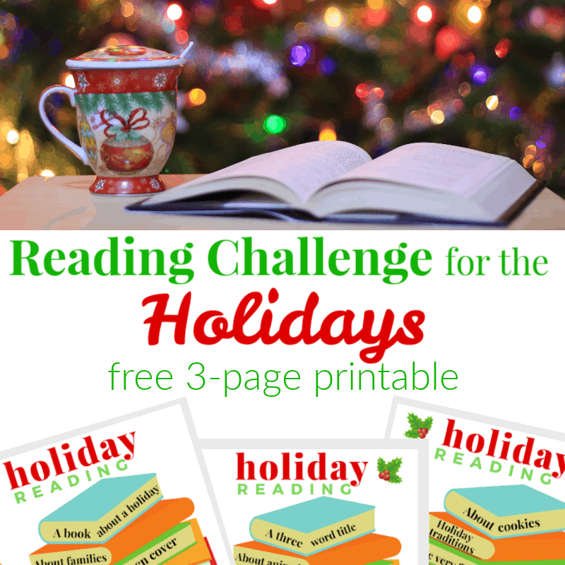 top image of holiday cup with open book in front of Christmas tree, bottom image of 3 reading log sheets
