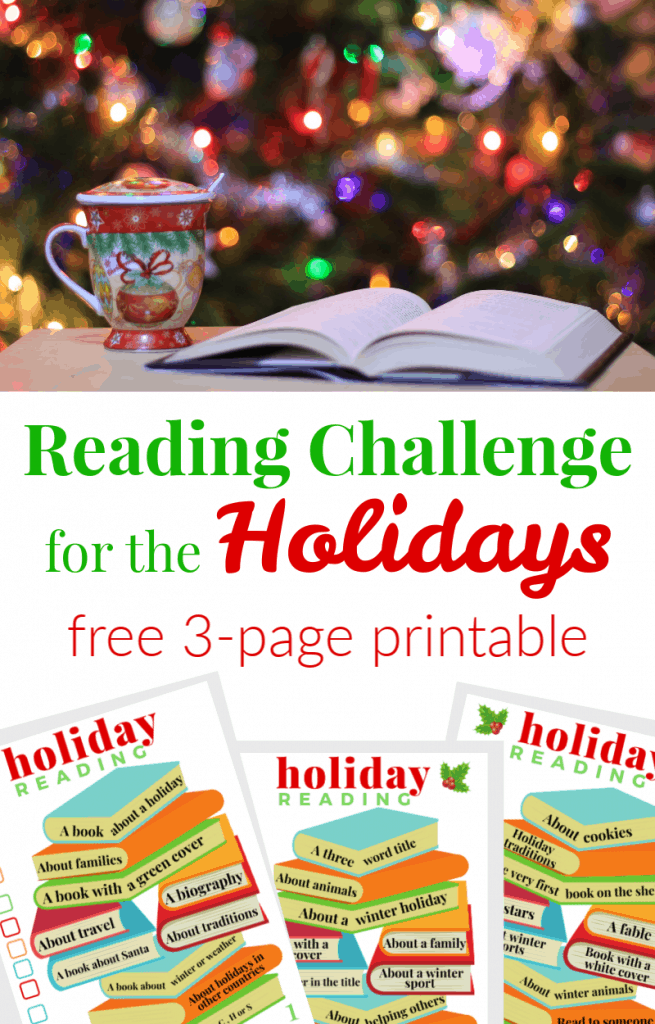 top image - holiday mug by open book in front of Christmas tree, bottom image - 3 colorful printable sheets