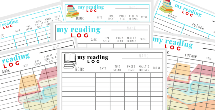 printable reading logs collage