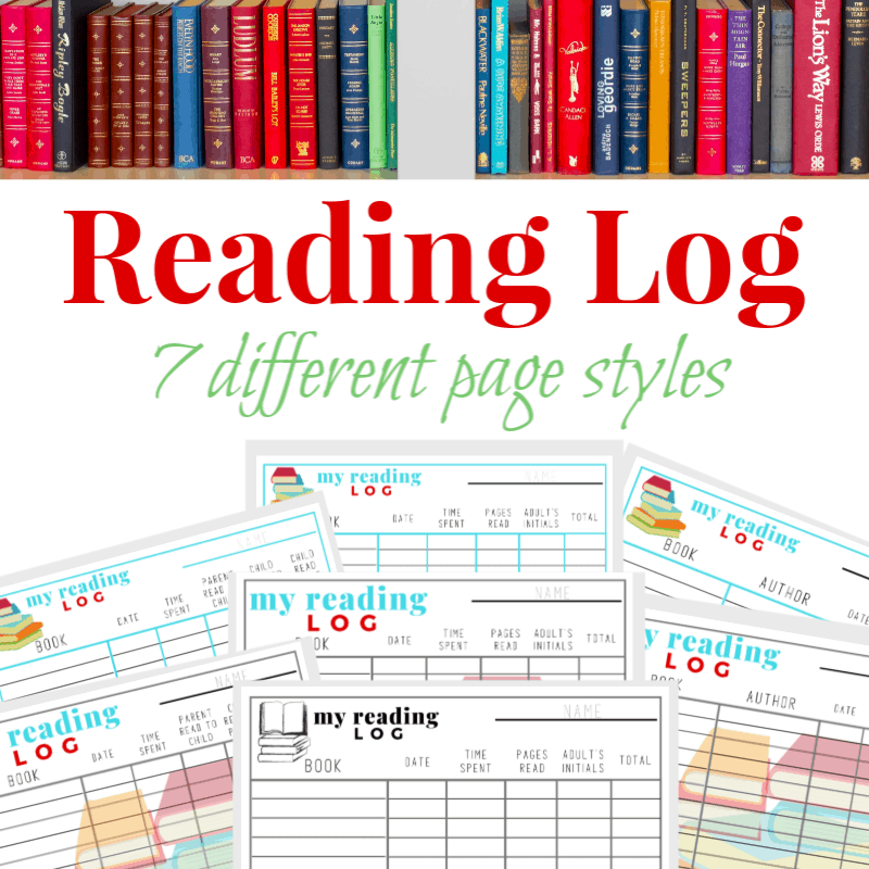 row of red books on top and 7 images of reading logs on bottom