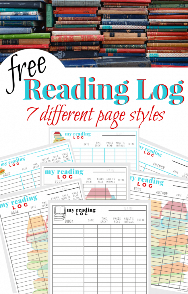 a collage of stacks of books and printable reading logs with title text reading free Reading Log 7 different page styles