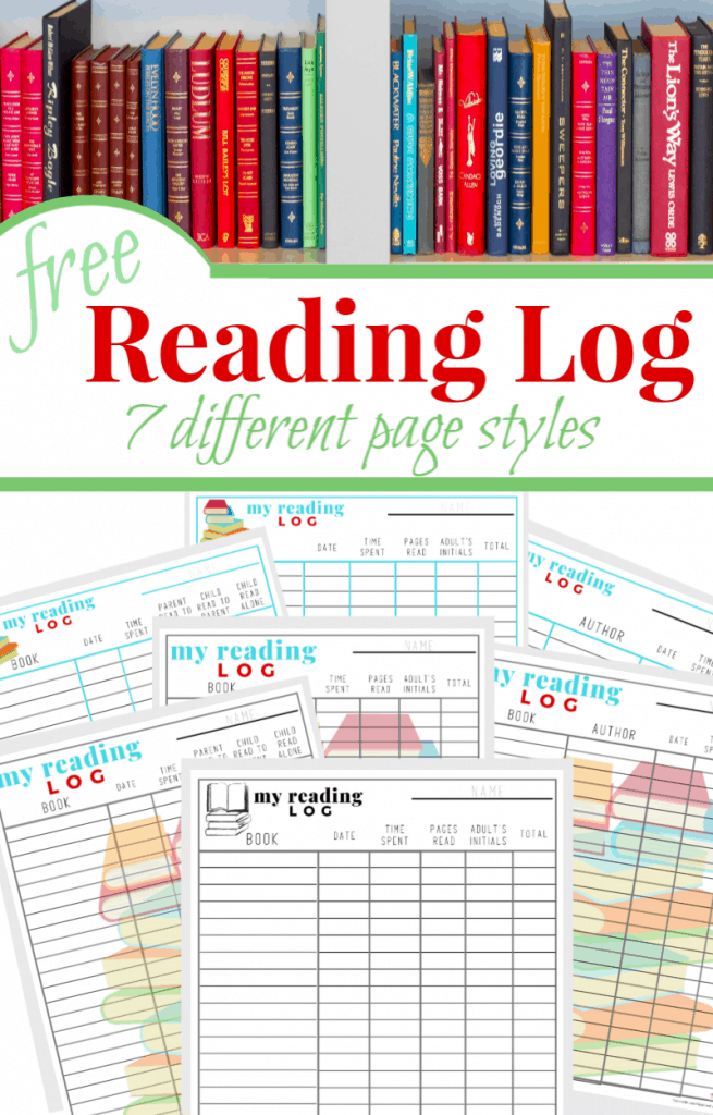 a collage of books on a shelf and printable reading logs with title text reading free Reading Log 7 different page styles