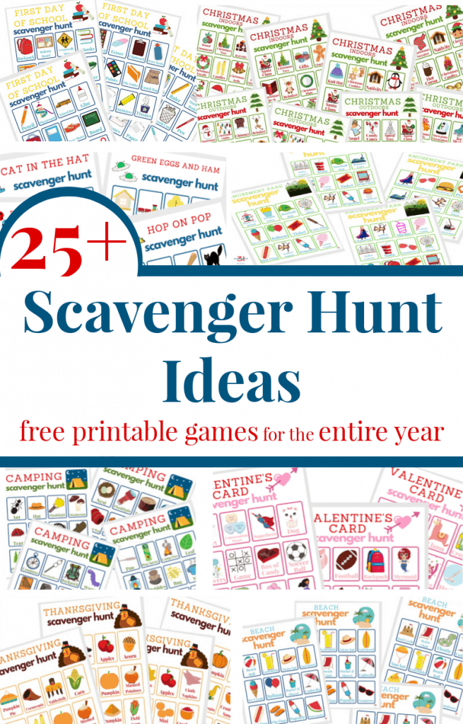 collage of 6 different colorful scavenger hunt game boards with text overlay in red and blue