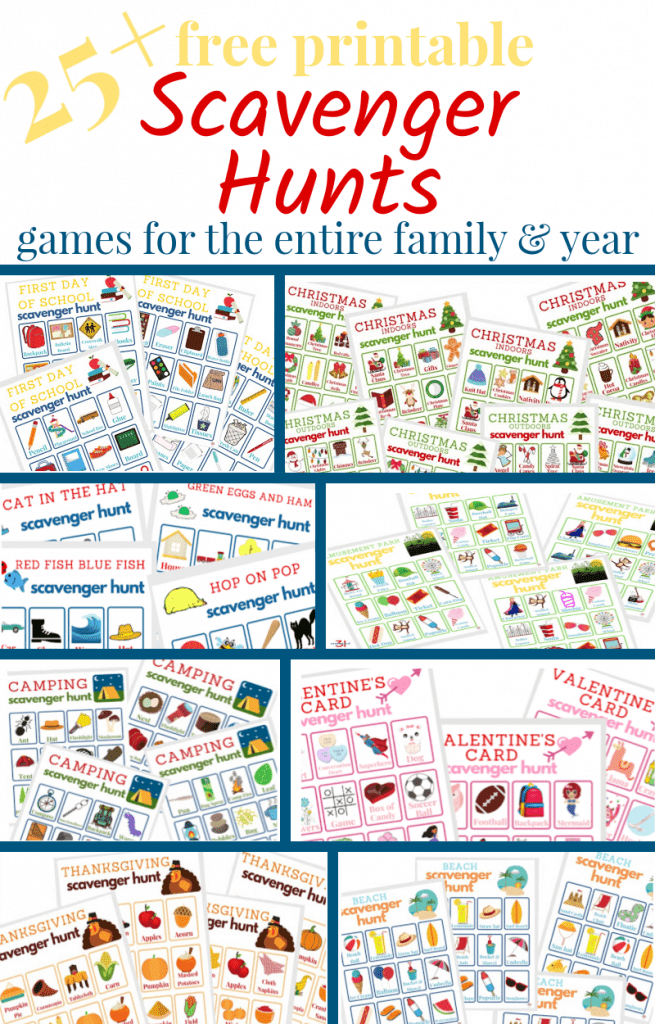 collage of 6 different colorful scavenger hunt game boards with blue outline boxes
