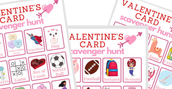 3 images of Valentine's Card Scavenger Hunt game cards